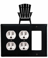 Double Outlet and GFI Cover, Adirondack Chair, Wrought Iron
