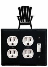 Double Outlet and Switch Cover, Adirondack Chair, Wrought Iron