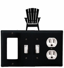 GFI, Double Switch and Outlet Cover, Adirondack Chair, Wrought Iron