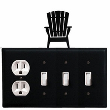 Outlet and Triple Switch Cover, Adirondack Chair, Wrought Iron
