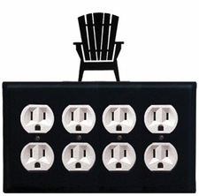 Quad Outlet Cover, Adirondack Chair, Wrought Iron