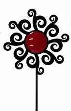 Lawn / Garden Stake, Artistic Flower, Wrought Iron, Color Lens