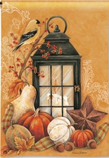 Garden Flag, Fall Floral, Autumn Lantern, Pumpkins, Gourds