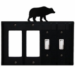 Double GFI & Double Switch Cover, Bear, Wrought Iron