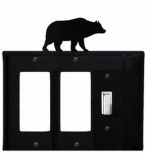 Double GFI and Switch Cover, Bear, Wrought Iron