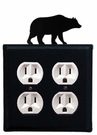 Double Outlet Cover, Bear, Wrought Iron