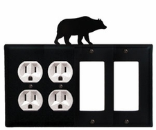 Double Outlet & Double GFI Cover, Bear, Wrought Iron