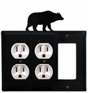 Double Outlet and GFI Cover, Bear, Wrought Iron