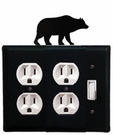 Double Outlet and Switch Cover, Bear, Wrought Iron