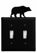 Double Switch Cover, Bear, Wrought Iron
