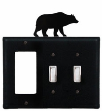GFI and Double Switch Cover, Bear, Wrought Iron