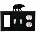 GFI, Double Switch and Outlet Cover, Bear, Wrought Iron