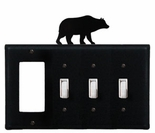 GFI and Triple Switch Cover, Bear, Wrought Iron