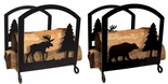 Fireplace Wood Rack, Bear, Moose, Wrought iron