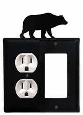 Outlet and GFI Cover, Bear, Wrought Iron