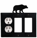 Outlet and Double GFI Cover, Bear, Wrought Iron