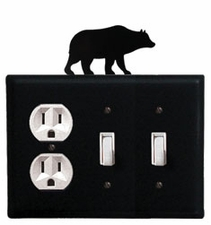 Outlet and Double Switch Cover, Bear, Wrought Iron