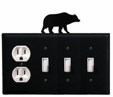 Outlet and Triple Switch Cover, Bear, Wrought Iron