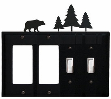 Double GFI & Double Switch Cover, Bear & Pine Trees, Wrought Iron