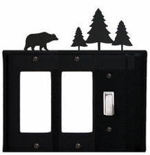 Double GFI and Switch Cover, Bear & Pine Trees, Wrought Iron