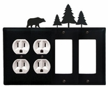 Double Outlet & Double GFI Cover, Bear & Pine Trees, Wrought Iron