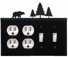 Double Outlet & Double Switch Cover, Bear & Pine Trees, Wrought Iron