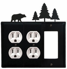Double Outlet and GFI Cover, Bear & Pine Trees, Wrought Iron