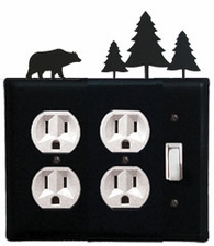 Double Outlet and Switch Cover, Bear & Pine Trees, Wrought Iron