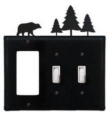 GFI and Double Switch Cover, Bear & Pine Trees, Wrought Iron