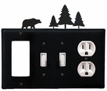 GFI, Double Switch and Outlet Cover, Bear & Pine Trees, Wrought Iron