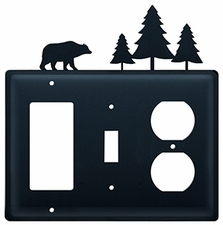 GFI, Switch and Outlet Cover, Bear & Pine Trees, Wrought Iron