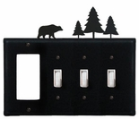 GFI and Triple Switch Cover, Bear & Pine Trees, Wrought Iron