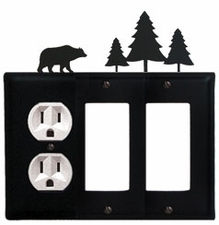 Outlet and Double GFI Cover, Bear & Pine Trees, Wrought Iron