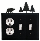 Outlet and Double Switch Cover, Bear & Pine Trees, Wrought Iron