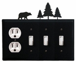 Outlet and Triple Switch Cover, Bear & Pine Trees, Wrought Iron