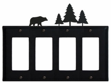 Quad GFI Cover, Bear & Pine Trees, Wrought Iron