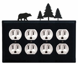 Quad Outlet Cover, Bear & Pine Trees, Wrought Iron