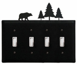 Quad Switch Cover, Bear & Pine Trees, Wrought Iron