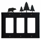 Triple GFI Cover, Bear & Pine Trees, Wrought Iron