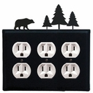 Triple Outlet Cover, Bear & Pine Trees, Wrought Iron