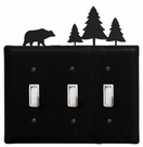 Triple Switch Cover, Bear & Pine Trees, Wrought Iron