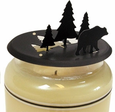 Candle Jar Topper, Bear & Pine Trees, Wrought Iron