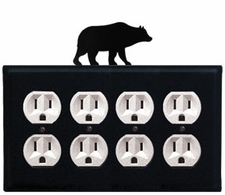 Quad Outlet Cover, Bear, Wrought Iron