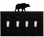 Quad Switch Cover, Bear, Wrought Iron