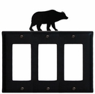 Triple GFI Cover, Bear, Wrought Iron