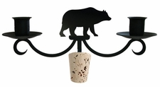 Bear - Wrought Iron Wine Bottle Topper - Candelabra