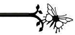Curtain Rod, Butterfly Finial, Wrought Iron, 36 - 60 inch