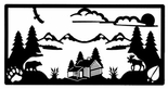 Wall Art, Wrought Iron, Log Cabin, Mountain Scene