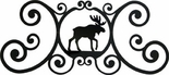 Wall Plaque, Sign, Moose, Wrought Iron, Over the Door
