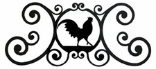 Wall Plaque, Sign, Rooster, Wrought Iron, Over the Door